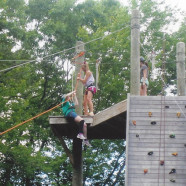 Climbing wall at camp